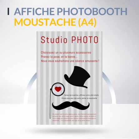 Affiche photobooth moustache vintage